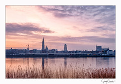Sunrise above Antwerp (cornelis1980) Tags: sunrise antwerp early morning landscape cityscape colours colors hdr photography clouds warm tones cool