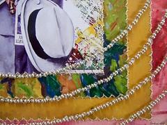 """Targetting The Collector """"detail"""" (Peggy Dembicer) Tags: paperquilt stitching fiberart mixedmedia peggycorallodembicer beadembroidery beads recycled repurposed reuse surfacedesign connecticutartist design art artistic collage diy doityourself"""