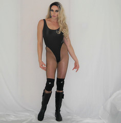 The look from my latest vid (queen.catch) Tags: catchqueen youtube fishnets wrestling gear workout kneepads boots thong leotard shinylycra pantyhose wig drag sissy femboy beautyboy hips legs makeup
