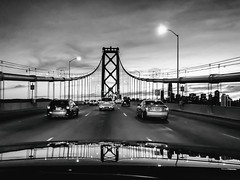 Every Now and Then the Stars Align (Thomas Hawk) Tags: america baybridge california sanfrancisco usa unitedstates unitedstatesofamerica bridge bw sunset us fav10 fav25 fav50 fav100