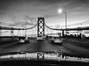 Every Now and Then the Stars Align (Thomas Hawk) Tags: america baybridge california sanfrancisco usa unitedstates unitedstatesofamerica bridge bw sunset us fav10 fav25 fav50 fav100