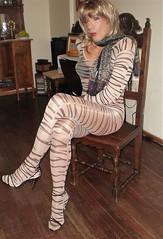 Karen (Karen Maris) Tags: tg tgirl tgurl karen legs bodystocking transvestite transsexual transgender pantyhose tights sheer blonde heels highheels sandals crossdress crossdresser