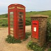 Red Box pair at Birling Gap (Puckpics) Tags: redbox postbox gpo telephone royalmail telephonebox telecommunication post mailbox mail communications red pair