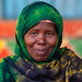 Portrait of a somali woman with a green hijab, Awdal region, Zeila, Somaliland