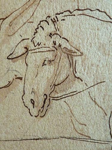 PRIMATICE - Triptyque, Trois Hommes, un Mulet et un Âne auprès d'un Chargement (drawing, dessin, disegno-Louvre INV8574) - Detail 27