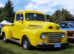 1948? Ford F-1 Pickup Truck (J Wells S) Tags: 1948fordf1pickuptruck ford pickup streetrod hotrod chrome yellow fastiquesrodcustomcarclub pumpkinrunnationalscarshowandswapmeet clermontcountyfairgrounds owensville ohio