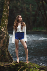 Maddison - Our First Shoot! (Rob Harris Photography) Tags: beautiful beauty babe female fashion feminine figure girl gorgeous goddess model modelling pretty photoshoot naturallight naturalbeauty woman denim lifestyle river creek water hair longhair shorts highwaisted