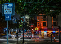 scenic drive mile 49 (pbo31) Tags: sanfrancisco california nikon d810 color april spring 2018 boury pbo31 lightstream motion traffic roadway fishermanswharf night dark black neon cablecar hydestreet buenavista sign scenicroute 49 marker red beachstreet bar aquaticpark