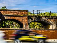Tay Bridge Approach, Dundee (that petrol emotion) Tags: img3319 rail railway viaduct victorian brickwork networkrail tayrailwaybridge dundee scotland taxi blur bokeh helix