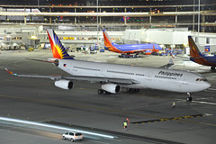 RP-C3439 (Rich Snyder--Jetarazzi Photography) Tags: philippineairlines philippine pal pr airbus a340 a340300 a340313 a343 rpc3439 departure departing sanfranciscointernationalairport sfo ksfo millbrae california ca airplane airliner aircraft jet plane jetliner ramptowera rcta atower dark night lights