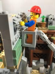 2018-143 - Master Builder (Steve Schar) Tags: 2018 wisconsin sunprairie iphone iphone6s project365 lego minifigure emmet build builder masterbuilder brick bricks wall construction buckettruck