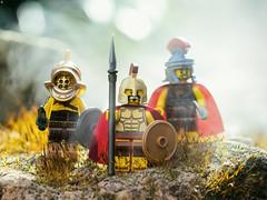 The Romans (jezbags) Tags: gladiator spartan commander romans roman lego legos toy toys macro macrophotography macrodreams macrolego canon canon80d 80d 100mm closeup upclose minifigure minifigures sword shield smoke ash