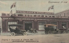 Canada Cycle & Motor Agency Ltd, Brisbane, Qld - circa 1910 (Aussie~mobs) Tags: queensland vintage australia brisbane adelaidestreet creekstreet canadacycleandmotoragencyltd motorcar automobile car garage salesroom motor showroom