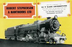 Western Australian Government Railways - WAGR Class V 2-8-2 steam locomotive (Robert Stephenson Locomotive Works ad) (HISTORICAL RAILWAY IMAGES) Tags: wagr australian railways bp rsh steam locomotive beyerpeacock robertstephenson 282