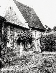 Old and abandoned barn in the Loire Valley (LUMEN SCRIPT) Tags: façade door window stonework blackandwhite france countryside country rural decay derelict abandoned abandonment old barn architecture monochrome