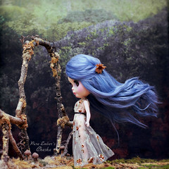 The gate's warning (pure_embers) Tags: pure laura embers blythe doll dolls custom photography uk england girl pureembers freddy tan freddytan blue alpaca hair fantasy cheska emberscheska thegate hairflying windy