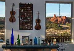 Treasures (32nd and Pine) Tags: sedona desert violin fireplace hearth view knickknacks shelf window