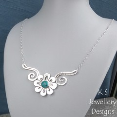 Turquoise Flower and Swirls Sterling Silver Necklace (KSJewelleryDesigns) Tags: necklace silvernecklace metalwork flower pendant jewellery jewelry handmade brightsilver shine sterlingsilver silverjewellery handcrafted silver silverwire metal hammered shiny polished bright soldered soldering brushed flowers petals sawing piercing silversmith silversmithing daisy daisies blooms blossom gemstone cabochon flowerpendant swirlblossom texture stamens organic wirework stonesetting turquoise