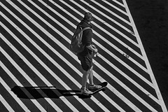 no-parking zone (heinzkren) Tags: scater schwarzweis bw sw monochrome sport man mann lines verkehr street streetphotography panasonic lumix traffic candid shadow schatten