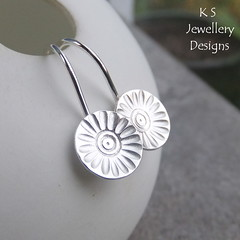 Rustic Daisy Disc Sterling Silver Earrings (KSJewelleryDesigns) Tags: metalwork earrings jewellery jewelry handmade brightsilver shine sterlingsilver silverjewellery handcrafted silver silverwire metal hammered shiny polished bright soldered soldering brushed flowers petals sawing piercing silversmith silversmithing metalsmithing metalsmith handstamped handstamping daisy daisies discearrings
