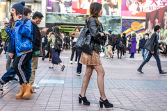 Shiny In Their Own Ways (burnt dirt) Tags: asian japan tokyo shibuya station streetphotography documentary candid portrait fujifilm xt1 laugh smile cute sexy latina young girl woman japanese korean thai dress skirt shorts jeans jacket leather pants boots heels stilettos bra stockings tights yogapants leggings couple lovers friends longhair shorthair ponytail cellphone glasses sunglasses blonde brunette redhead tattoo model train bus busstation metro city town downtown sidewalk pretty beautiful selfie fashion pregnant sweater people person costume cosplay hat shiny blue gold black