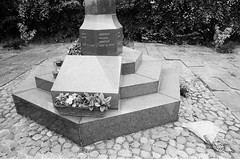 36 Lofthouse Colliery Disaster 21 March 1973 monument memorial (I ♥ Minox) Tags: film 2018 hp5 ilfordhp5plus ilford ilfordhp5 olympus olympusom2 om2n olympusom2n om2582 wakefield lofthousecolliery lofthousecollierydisastermonument lofthousecollierydisastermemorial 1973