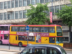 Rail replacement buses on Smallbrook Queensway, Birmingham - Midland Classic (ell brown) Tags: smallbrookqueensway birmingham westmidlands england unitedkingdom greatbritain bankholidaymonday springbankholidaymonday bus buses railreplacementbus railreplacementbuses tree trees midlandclassic pinkroutes taxi ringwaycentre