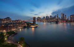 Blue Hour (Gary Walters) Tags: newyork bridge water gary walters buildings sony brooklynbridge lights wtc bluehour longexposure nyc a7r2 light cityscape a7r ii city a7rii garywalters