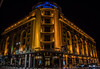 2018 - Romania - Bucharest - Athenée Palace Hilton - 1 of 2 (Ted's photos - For Me & You) Tags: 2018 bucharest cropped nikon nikond750 nikonfx romania tedmcgrath tedsphotos vignetting athenéepalacehilton athenéepalace athenée hotel night nightscene neon gucci balconies arches bollards streetscene street vehicles