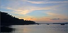 El sol se va, el Miño  finaliza su recorrido (Luisa Gila Merino) Tags: río mar sea airelibre serenidad paisaje landscape maisema nubes arboleda siluetas ocaso atardecer