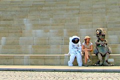 Astronaut, Explorer & Dinosaur. (stonefaction) Tags: costumes people strange topv111 geotagged scotland weird crazy bravo edinburgh gallery dynamic dinosaur earth explorer topv999 steps surreal astronaut odd wierd spaceman wtf mad bizarre quirky dynamicearth faved ourdynamicearth personalfave explored abigfave geo:lat=55950792 geo:lon=3174834 highestposition11ontuesdayaugust292006