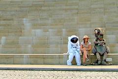 Astronaut, Explorer & Dinosaur. (stonefaction) Tags: costumes people strange topv111 geotagged scotland weird crazy bravo edinburgh gallery dynamic dinosaur earth explorer topv999 steps surreal astronaut odd wierd spaceman wtf mad bizarre quirky dynamicearth faved ourdynamicearth personalfave explored abigfave geo:lat=55950792 geo:lon=3174834 highestposition11ontuesdayaugust292006