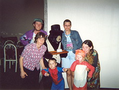 Toby, Ky, Owl, Mose, G and Me with the Bear on Halloween
