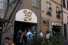 Apparantly, you are only allowed to eat here, when you leave as fast as possible