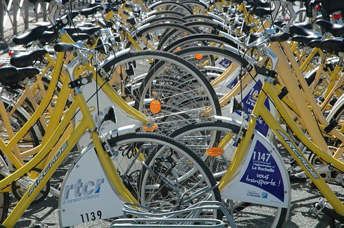 La Rochelle's famous yellow bikes – the first public bike sharing scheme in the world to take hold. Photo: theyuped