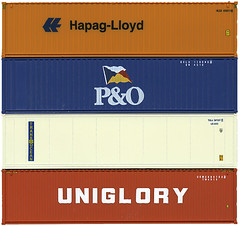 Shipping Containers - Hapag-lloyd, P&O, Trans Ocean, Uniglory (Joe Kral) Tags: home k modern industrial prefab line container evergreen yang cast po shipping hyundai ming matson hanjin kline houe apl ics oocl cosco nedlloyd nol uniglory itel seaco genstar