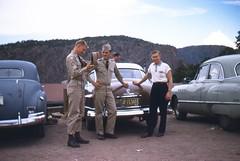 Army Roadtrip Royal Gorge Parking - 1956 (kocojim) Tags: bridge 35mm army colorado royal roadtrip gorge kodachrome slides kocojim