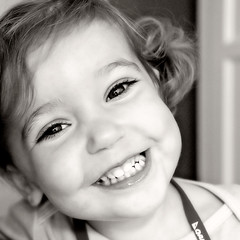 cheese, y'all. (sesame ellis) Tags: portrait blackandwhite girl smile square toddler mykid cheeks year2 hip2bsquare