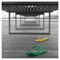 yellow thong green thong (~* Rae Rae *~) Tags: copyright perspective thongs perth canon350d colourful fremantle westernaustralia selectivecolour raethrenoworthphotography blueelementphotography raethrenoworth blueelement