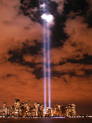 September 11, 2006  New York City, NY (Sister72) Tags: nyc newyorkcity blue usa beautiful skyline lights interestingness memorial remember sad manhattan worldtradecenter 911 memory newyorkskyline twintowers sept11 hudson neverforget towersoflight september11th acrosstheriver godbless fromjerseycity tributeinlights