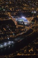 Yankee Stadium (plemeljr) Tags: nyc newyorkcity travel skyline night airplane baseball stadium manhattan flight aerial yankeestadium