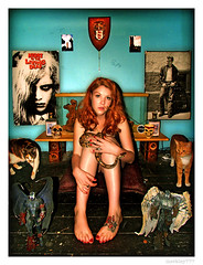 Caitlin - Cats, Snake & Stuff (merkley???) Tags: sanfrancisco red portrait cats cat photoshop portraits caitlin saturated snake symmetry redhead portraiture saturation symmetrical safe retouched airbrush jamesdean certified nightofthelivingdead eleela chicksset