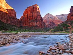 Angel's Landing (Matt Champlin) Tags: red mountains southwest angel utah stream desert religion canyon zion angelslanding zionnationalpark waterblur redrock mormons frhwofavs