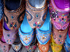 Colorful beaded silk shoes (go2net) Tags: pakistan shoes islamabad