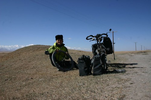 Having a flat tyre in Kyrgyzstan!