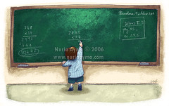 Alone (Nuria Ayma) Tags: school kid child class math slate blackboard