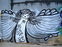 Angel by Norjin (server pics) Tags: street urban white black art girl wall angel painting town calle artist grafitti arte kunst athens via greece grecia atenas writers writer rua strase grce  pintura  grafite athen griekenland  athnes   atene         athensstreetart makeonesday dearflickrfriend      norjin    artedelacalledeatenas serverpics