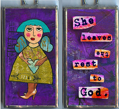 She leaves the rest to god. (allisonstrinedesigns) Tags: bird art collage altered children fun whimsy artist folkart artistic folk outsider mixedmedia funky charm number lucky soul letter alphabet naive initial pendant childish naiveart innerchild solder initials primitive rauschenberg allisonstrine