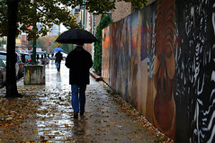 watercolor (vicki wolkins) Tags: street city autumn urban chicago fall wet water rain silhouette umbrella painting geotagged mural dusk raindrops gloom puddles shining utatathursdaywalk28 geolat41895547 geolon87633938