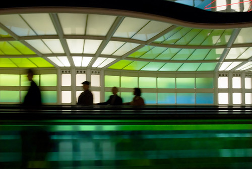 Travelers on the Concourse, O'Hare Airport